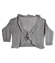 Fashionable Frilled Woolen Shrug