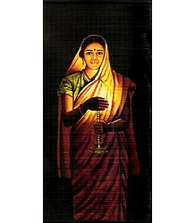Lady with the Lamp - S.L. Halankar Painting (Wall Hanging)