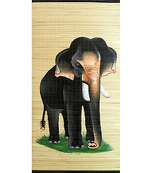 Elephant Painting on Woven Bamboo Strands