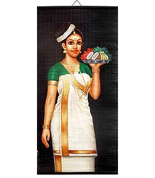 Lady with Puja Thali - Painting on Wall Hanging