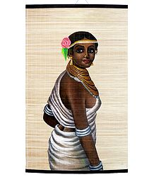 Tribal Beauty - Painting on Woven Bamboo Strands - Wall Hanging