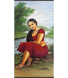 A Beautiful Maiden Sitting Near Pond Full of Lotus - (Wall Hanging)