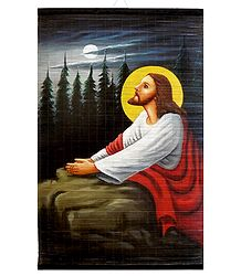 Praying Jesus - Painting on Woven Bamboo Strands - Wall Hanging