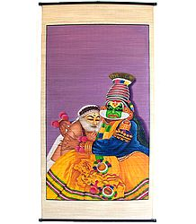 Kathakali Dancers as Krishna and Sudama - (Wall Hanging)