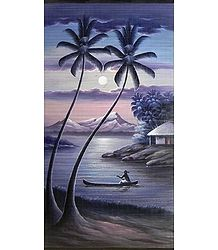 Boatman Rowing on a Moonlit Night - (Wall Hanging)