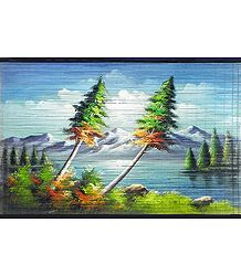 Beauty of the Nature - Painting on Woven Bamboo Strands - Wall Hanging