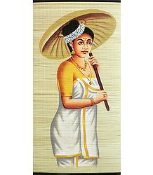 A Malayalee Lady in a Traditional Dress Holding Bamboo Umbrella - (Wall Hanging)