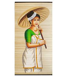 A Malayalee Lady - Painting on Woven Bamboo Strands - Wall Hanging