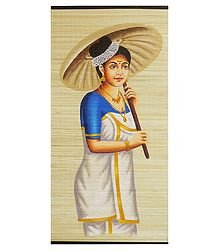 Malayalee Lady on Painted Woven Bamboo Strands