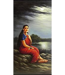 Lady in Moonlight - Raja Ravi Varma Painting (Wall Hanging)