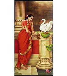 Hamsa Damayanti - Raja Ravi Varma Painting (Wall Hanging)