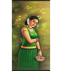 A Malayalee Girl in a Traditional Dress Holding Flower Basket - Wall Hanging