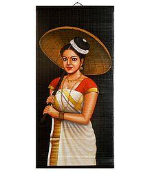 Kerala Beauty with Umbrella - (Wall Hanging)