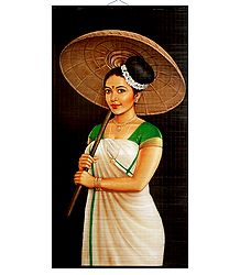 Kerala Beauty with Umbrella - Painting on Woven Bamboo Strands - Wall Hanging