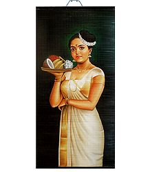 Lady with Puja Thali - Hand Painted Wall Hanging