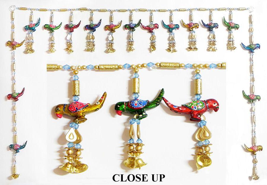 Beaded Door Toran with Wooden Birds and Bells - (Decorative Door Hanging)  sc 1 st  Dolls of India & Beaded Door Toran with Wooden Birds and Bells - (Decorative Door ...