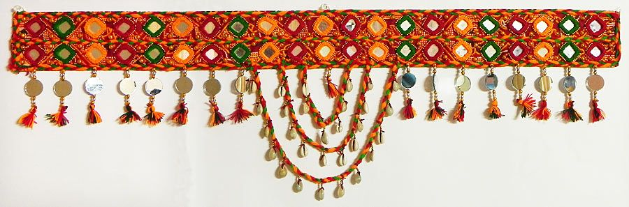 Hover to zoom  sc 1 st  Dolls of India & Red Green and Saffron Woolen Door Toran with Cowrie and Mirrors ...
