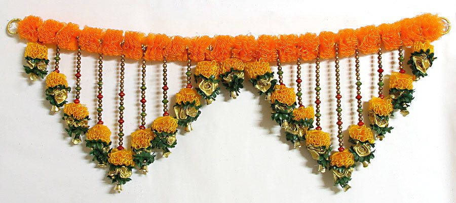 Satin Ribbon Flower Door Toran With Beads And Golden Bell