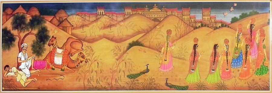 panihari ladies from rajasthan desert - poster
