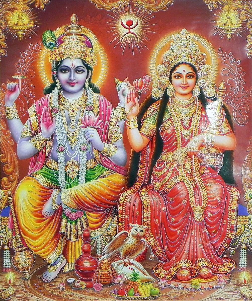 vishnu with lakshmi on glitter paper poster 2225 x 18