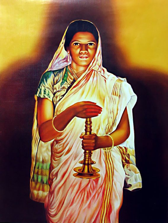 Lady With The Lamp   S.L. Halankar Painting (Wall Hanging). Hover To Zoom