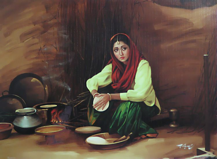 punjabi lady making roti