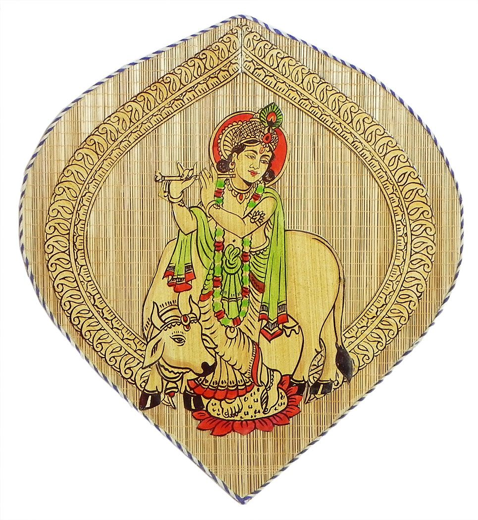 Krishna (Wood and Bamboo Strands Wall Hanging) 11.5 x 11 inches