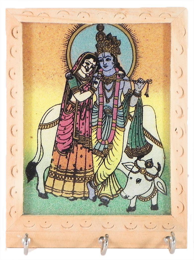 Crushed Real Gemstone Painted Radha Krishna On Wooden Key Rack With Three Hooks Wall Hanging