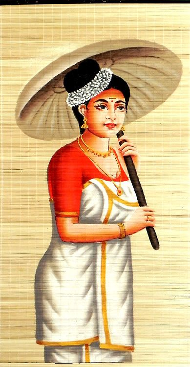Malaylee Lady In Traditional Dress With Umbrella Wall